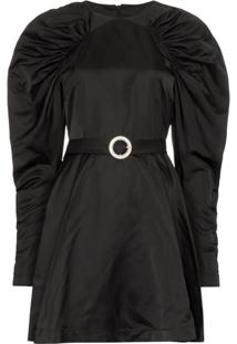 Rotate Vestido Com Cinto E Mangas Amplas - Preto