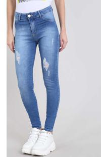 d4b23593fb R$ 129,99. CEA Calça Destroyed Decorativo Skinny Zíper Feminina Azul  Algodão Elastano Jeans Sawary Com Rasgos Médio