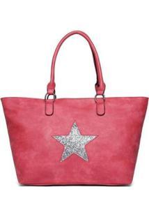 Bolsa Nice Bag Tote Alça Dupla Fixa Estrela Feminina - Feminino-Vermelho