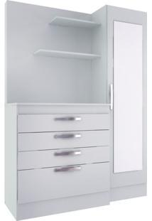 Cômoda Sonhar Com Armário E Espelho 1Pt 4Gv Branco