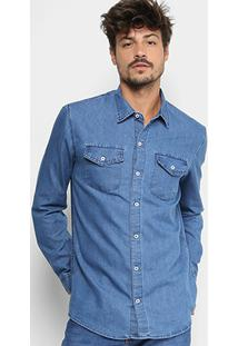 Camisa Jeans Manga Longa Preston Clássica Bolsos Masculina - Masculino-Azul Claro