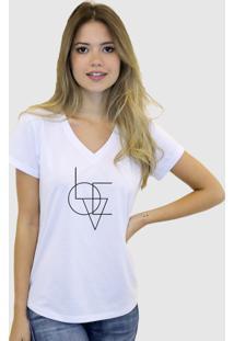 Camiseta Suffix Branca Gola V Estampa Love