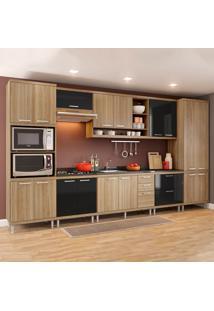 Cozinha Completa Sem Tampo 17 Portas 5832 Argila/Preto - Multimóveis
