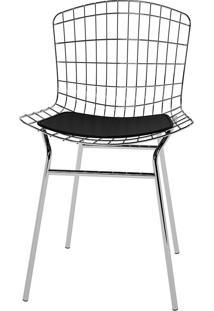 Cadeira Trama Vinil Pc220-Pozza - Preto / Cromado