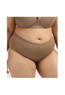 Calcinha Feminina Dilady Plus Size Cintura Alta Microfibra Marrom
