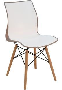 Cadeira Tramontina 92066213 Maja Com Base 3D Camurça E Branco