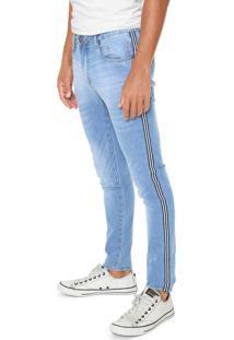 Calça Jeans Local Skinny Listras Laterais Azul