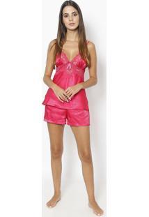 Short Doll Com Renda- Pinkfruit De La Passion