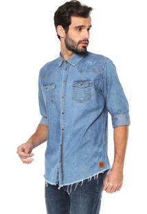 Camisa Jeans Colcci Slim Destroyed Azul