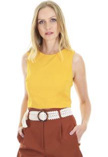 Blusa Cropped Lisa Pink - Amarela - Kanui