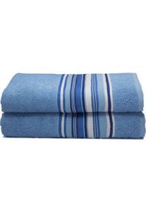 Toalha De Rosto Vegas- Azul Claro & Branca- 45X70Cm