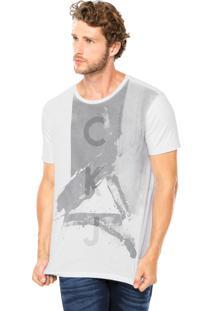 Camiseta Calvin Klein Jeans Estampa Tinta Branca