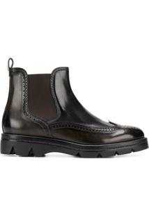 Santoni Ankle Boot Slip On De Couro - Preto