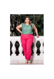 Calça Reta Almaria Plus Size Sha Brand Alfaiataria Rosa