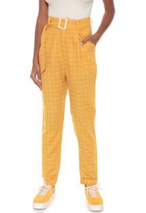 Calça Dress To Chino Xadrez Amarela