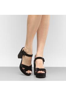 Sandália Shoestock Meia Pata Veludo - Feminino-Preto
