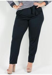 Calça Crepe Plus Size Marinho Faixa Na Cintura