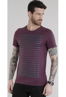 Camiseta Com Listras Roxa