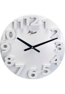 Relógio De Parede Números Grandes Branco 30 Cm