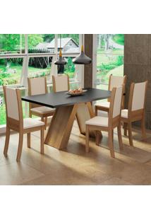 Conjunto Sala De Jantar Madesa Paola Mesa Tampo De Madeira Com 6 Cadeiras Marrom - Tricae