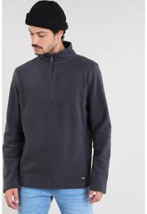 Blusão Masculino Básico Em Fleece Com Meio Zíper Cinza Chumbo