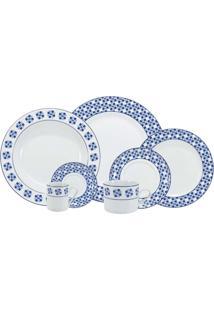 Aparelho De Jantar Athena 42 Peças - Schmidt - Branco / Azul