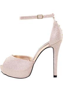 Sandália Week Shoes Meia Pata Glitter Cobre