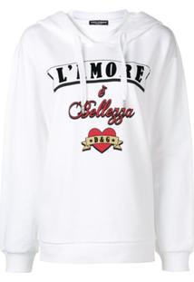 Dolce & Gabbana Blusa De Moletom L'Amore È Bellezza Com Capuz - Branco