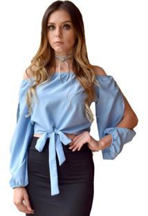 Blusa Hora De Diva Ciganinha Cropped Azul - Kanui
