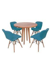 Conjunto Mesa De Jantar Em Madeira 90Cm Com Base Vértice + 4 Cadeiras Slim - Turquesa