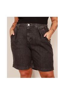 Bermuda Jeans Plus Size Com Pregas Cintura Alta Mindset Preta