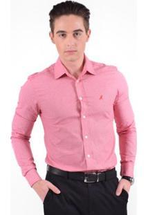 Camisa Social Estampada Masculina - Slim - Masculino-Rosa