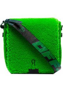 Off-White Bolsa Transversal Com Pelos - Verde