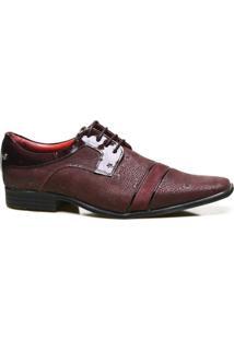 Sapato Social Couro Calvest Com Textura Vigo Masculino - Masculino-Bordô