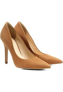 Scarpin Couro Shoestock Salto Alto Nobuck - Feminino-Caramelo