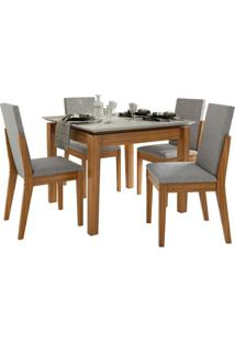 Sala De Jantar Áries Com 4 Cadeiras Rovere Naturale