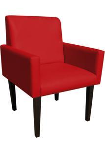Poltrona Decorativa Dani Para Sala E Recepção Corino Vermelho - D'Rossi