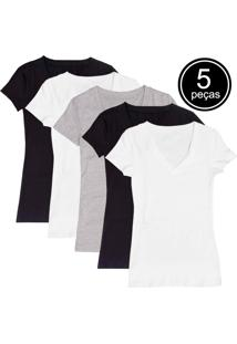 Kit Com 5 Blusas Part.B Decote V Colors