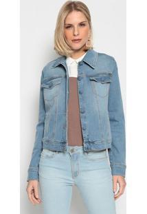 Jaqueta Jeans Com Bolsos - Azulenna