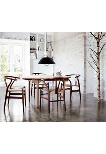 Cadeira Wishbone Castanho Opção De Madeira