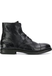 Premiata Ankle Boot Com Cadarço - Preto