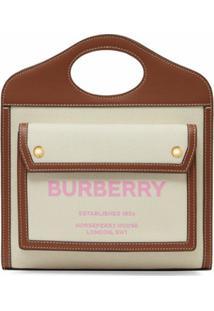 Burberry Bolsa Bucket Bicolor - Neutro