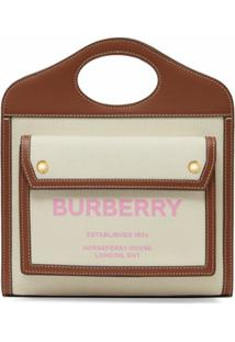 Burberry Bolsa Bucket Bicolor - Neutro