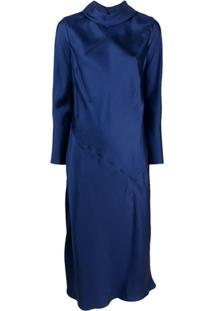 Parlor Vestido Gola Alta Ampla De Seda - Azul