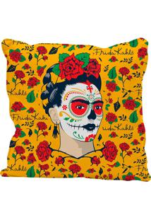 Capa De Almofada Frida Kahlo Face And Flowers 45X45Cm - Urban - Amarelo