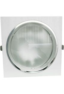 Refletor Mars De Embutir 18Cm E-27 1 Lâmpada Max 60W Moldura Branca E Borda Cromada