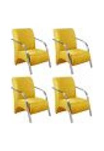 Conjunto De 4 Poltronas Sevilha Decorativa Braço Alumínio Cadeira Para Recepção, Sala Estar Tv Espera, Escritório - Veludo Amarelo