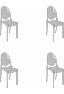 Kit 04 Cadeiras Sofia S/ Braã§O Incolor Rivatti Incolor - Incolor - Dafiti