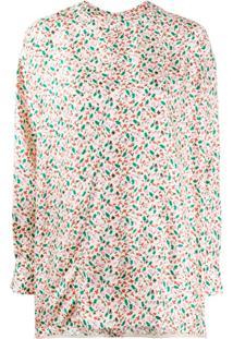 Marni Blusa Nude De Seda Com Estampa Floral - Neutro