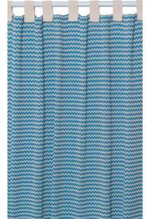 Cortina Campestre Para Varão Azul E Bege (180X300)